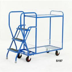 Heavy Duty Step Tray Trolley - 3 Step  - Removable Baskets