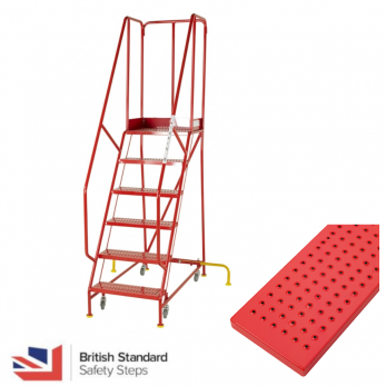 Premier Commercial Warehouse Steps - British Standard - Punched Steel Treads Warehouse Ladder
