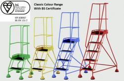 Steptek British Standard Classic Colour Dome Feet Steps -Anti Slip Treads Warehouse Ladder