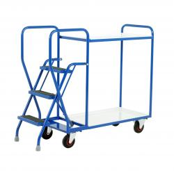 Heavy Duty Step Tray Trolley -  3 Steps  - Reversible White Trays