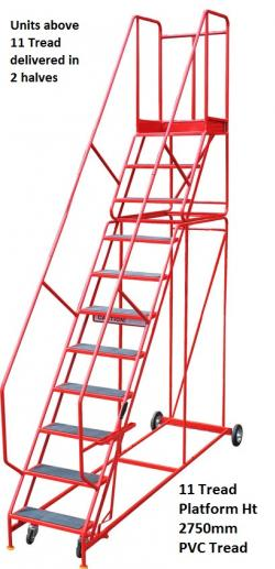 Steptek Quality Red Warehouse Ladders- Punched Metal Treads Warehouse Ladder