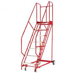 Steptek Quality Red Warehouse Ladders - 2960x850x1760 - S143 - Punched Metal Treads