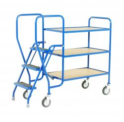 Heavy Duty Step Tray Trolley -  3 Steps - Fixed Plywood Shelf