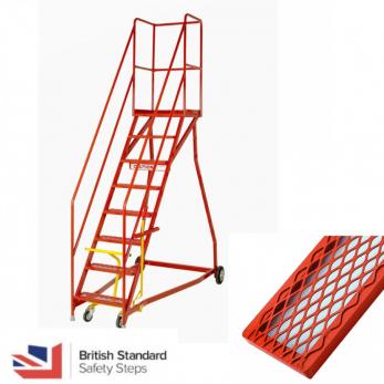 Steptek Quality Heavy Duty Warehouse Ladders Wide Base - BS EN 131 Certified  - Expamet Treads Warehouse Ladder