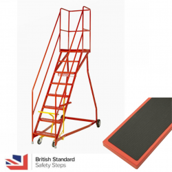 Steptek Quality Heavy Duty Warehouse Ladders Wide Base - BS EN 131 Certified  - Ribbed Rubber Tread