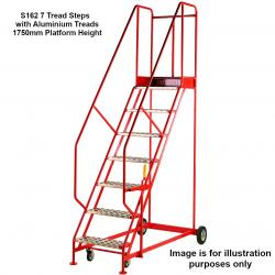 Steptek Quality Red Warehouse Ladders - 2460x850x1400 - S141 - Punched Metal Treads