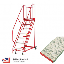 Steptek Quality Red Warehouse Ladders - Aluminium Treads