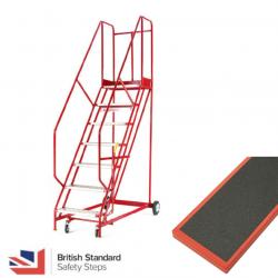 Steptek Quality Red Warehouse Ladders - Anti-Slip Treads