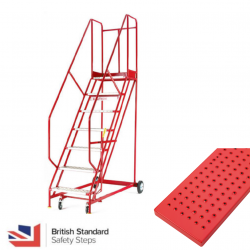 Steptek Quality Red Warehouse Ladders- Punched Metal Treads