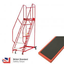 Steptek Quality Red Warehouse Ladders - Ribbed Rubber Treads
