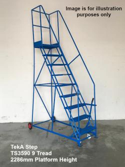 TekA Step Extra Heavy Duty Mobile Safety Steps 500kg Capacity - 8 tread  2946x889x1650mm -TS3580