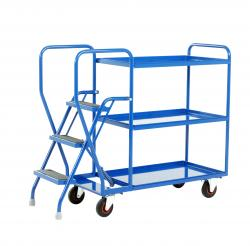 Heavy Duty Step Tray Trolley -  3 Steps - Fixed Blue Trays